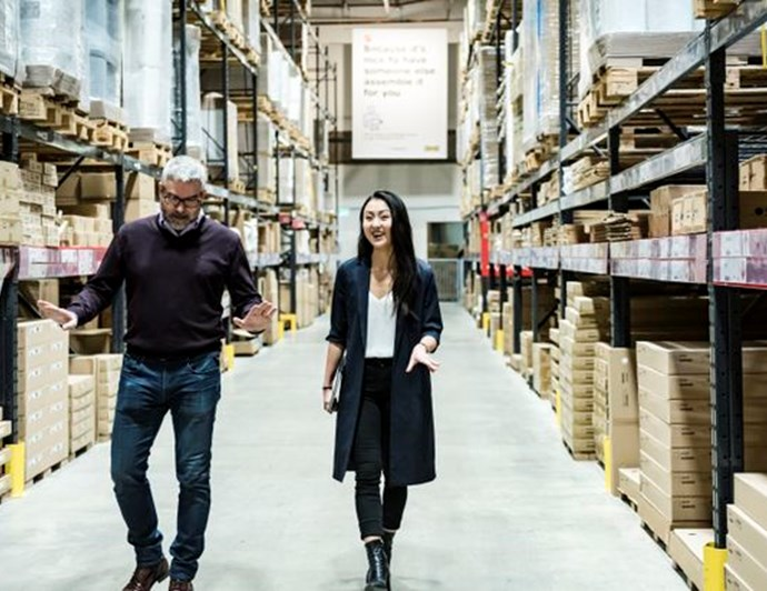Mr. Ward tours Ms. Hwang through the self-serve warehouse  |  CHRISTOPHER KATSAROV/THE GLOBE AND MAIL